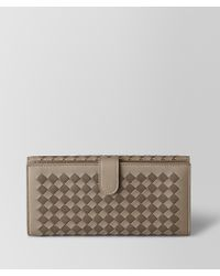 Bottega Veneta - Limestone/steel Intrecciato Checker French Wallet - Lyst