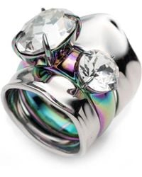 Alexis Bittar - Liquid Rhodium With Pvd Crystal Stacked Ring Set - Lyst