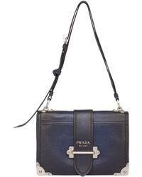 a313d0557ac4 Prada Cahier Notebook Python Shoulder Bag in Black - Lyst