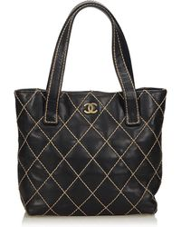 Chanel - Surpique Leather Tote Bag - Lyst