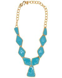 Kenneth Jay Lane - Turquoise Diamond And Triangle Drop Necklace - Lyst