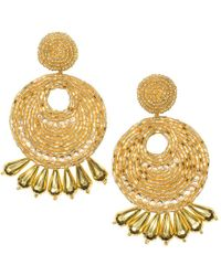 Kenneth Jay Lane - Gold Seed Bead Round Gypsy Hoop With Drops Pierced Or Clip Earrings - Lyst