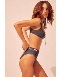 58ae284b83c Jessica Simpson Montauk Cross Back Full Support Triangle Swimsuit Bikini  Bra Top in Blue - Lyst