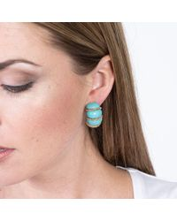 Kenneth Jay Lane - Turquoise Resin Gold Wire Wrapped Clip Earrings - Lyst
