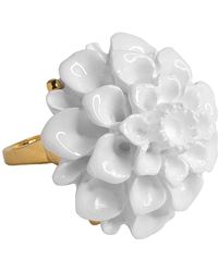 Kenneth Jay Lane - Gold And White Flower Ring - Lyst