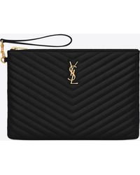 2e561111ec Lyst - Saint Laurent Monogram A5 Pouch In Matelassé Leather in Black