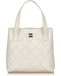 Chanel - Leather Surpique Handbag - Lyst