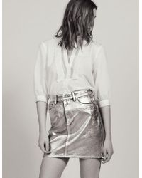 9d0d4547dd Isabel Marant Jeanne Metallic Coated Cotton-blend Mini Skirt in ...