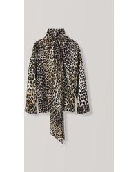 b2c3962a Ganni Calla Silk Twist Blouse In Leopard in Black - Lyst