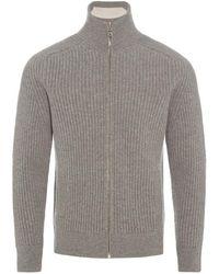 Orlebar Brown - Kirke Rib Lambswool Pale Grey Melange Funnel-neck Zip-through Sweatshirt - Lyst