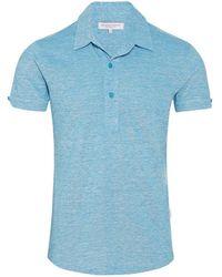 Orlebar Brown - Sebastian Linen Pique Azure/ecru Tailored Polo - Lyst
