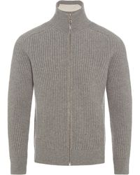 Orlebar Brown - Kirke Rib Lambswool Pale Grey Melange Funnel-neck Zip-through Sweatshirt - Lyst
