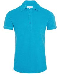 Orlebar Brown - Sebastian Towelling Azure Tailored Polo - Lyst