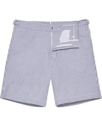Orlebar Brown - Norwich Seersucker Navy/white Tailored-fit Shorts - Lyst