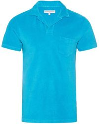 Orlebar Brown - Terry Towelling Azure Towelling Resort Polo - Lyst