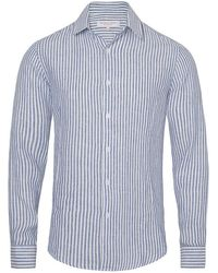 Orlebar Brown - Morton Linen Hemd Mit Körperbetonter Passform In Navy/white - Lyst