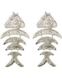 Oscar de la Renta - Silver Bold Fish Earrings - Lyst