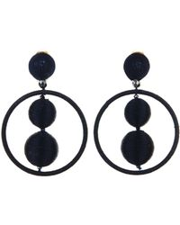 Oscar de la Renta - Threaded Bead Hoop Earrings - Lyst