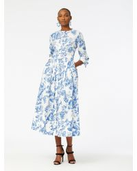 Oscar de la Renta - Floral Toile Cotton-poplin Shirtdress - Lyst