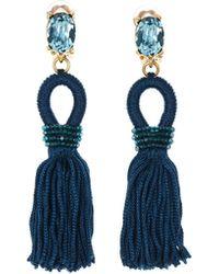 Oscar de la Renta - Peacock Short Silk Tassel Earrings - Lyst