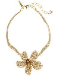 Oscar de la Renta - Pavé Flower Necklace - Lyst