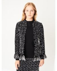 Oscar de la Renta - Fringed Ribbon Tweed Jacket - Lyst