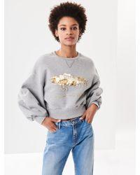 Oscar de la Renta - Embroidered Cotton Terrycloth Cropped Sweatshirt - Lyst