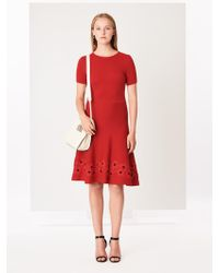 Oscar de la Renta - Anemone Flower Appliquéd Wool Dress - Lyst