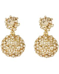 Oscar de la Renta - Jeweled Flower Drop Earrings - Lyst