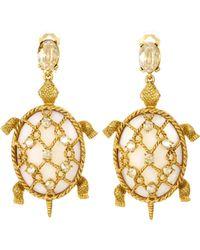 encrusted shell turtle earring - Metallic Oscar De La Renta fk6kOK