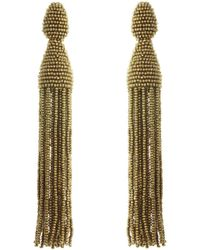 Oscar de la Renta - Beaded Tassel Clip Earrings - Lyst
