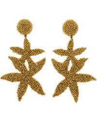 Oscar de la Renta - Gold Double Starfish Earrings - Lyst