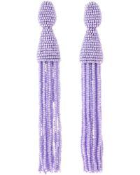 Oscar de la Renta - Lilac Long Beaded Tassel Earrings - Lyst