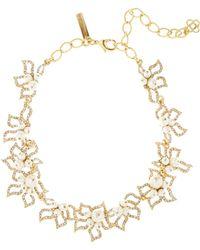 Oscar de la Renta - Gold Pavé Petal Necklace - Lyst