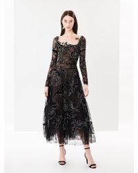 Oscar de la Renta - Embroidered Flower Garden Chantilly Lace Cocktail Dress - Lyst
