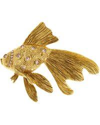 Oscar de la Renta - Crystal Fish Stone Brooch - Lyst
