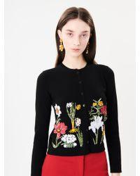 Oscar de la Renta - Flower Harvest Embroidered Wool Cardigan - Lyst
