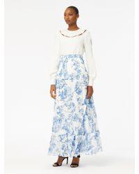 Oscar de la Renta - Floral Toile Silk-chiffon Pintuck Skirt - Lyst
