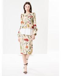 Oscar de la Renta - Flower Harvest Textured Raw Silk Pencil Skirt - Lyst
