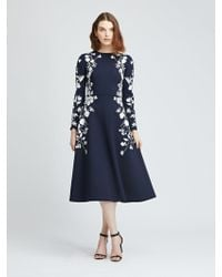 Oscar de la Renta - Floral Embroidered Double-face Stretch-wool Dress - Lyst