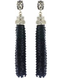 Oscar de la Renta - Swarovski Crystal & Beaded Long Tassel Earrings - Lyst