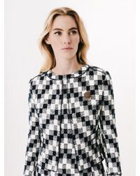 Oscar de la Renta - Chevron Check Tweed Cropped Jacket - Lyst