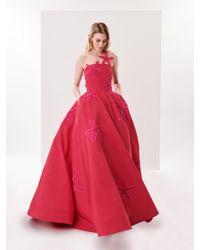 Oscar de la Renta - Starfish Embroidered Silk-faille Illusion-neck Gown - Lyst