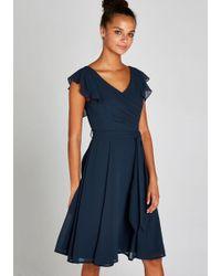 Apricot Chiffonkleid »Frill Shoulder Self Belt Dress« mit Rüschen an den Armen