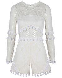 Alexis - Danika Romper In White Lace - Lyst