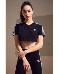 123065af815 adidas Originals High Neck Chevron T-shirt in Black - Lyst