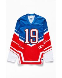 78e9e236 Lyst - Champion The Big C Colorblocked Hockey Jersey in Red for Men
