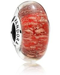 PANDORA - Red Twinkle Glass Murano Charm - Lyst