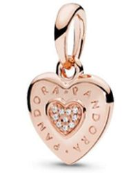 PANDORA - Signature Heart Pendant - Lyst