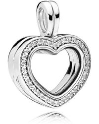 PANDORA - Sparkling Heart Floating Locket Pendant Charm - Lyst